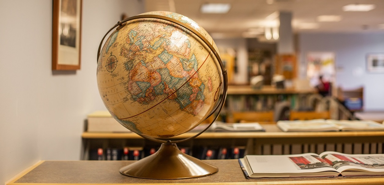 Globe on display in library