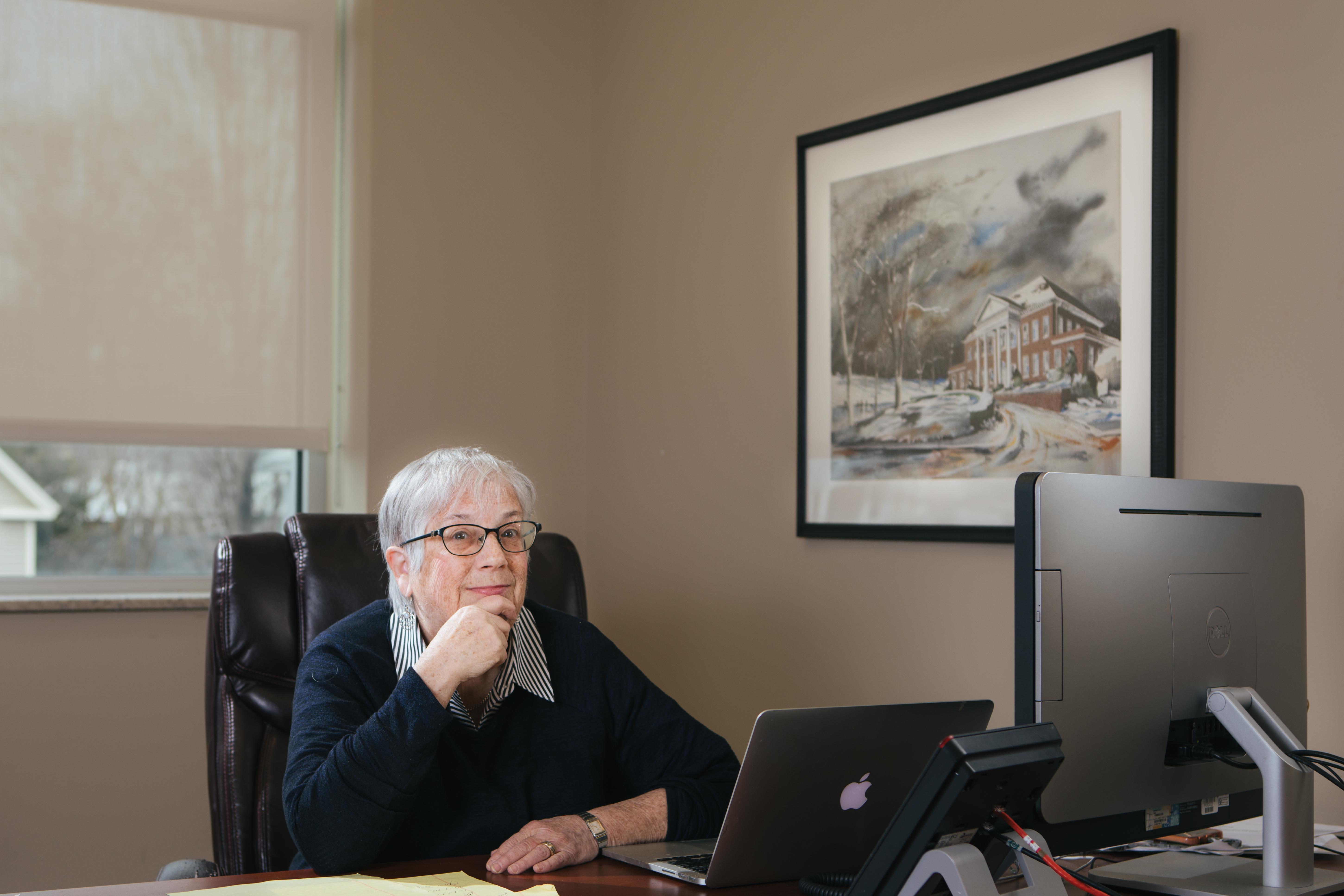 professor at her desk