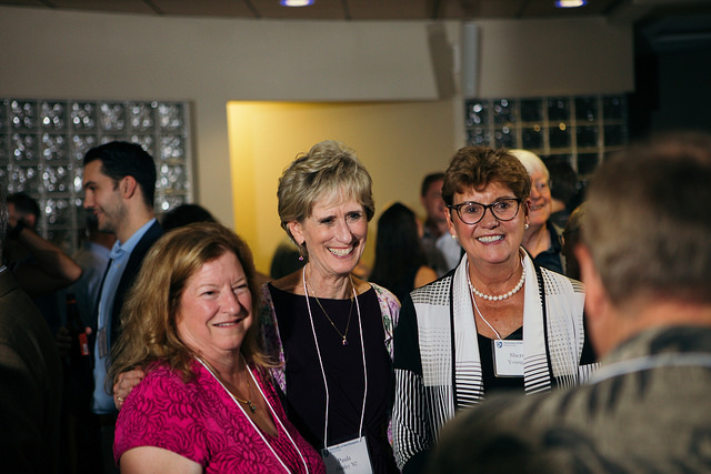 Alumni at reunion reception