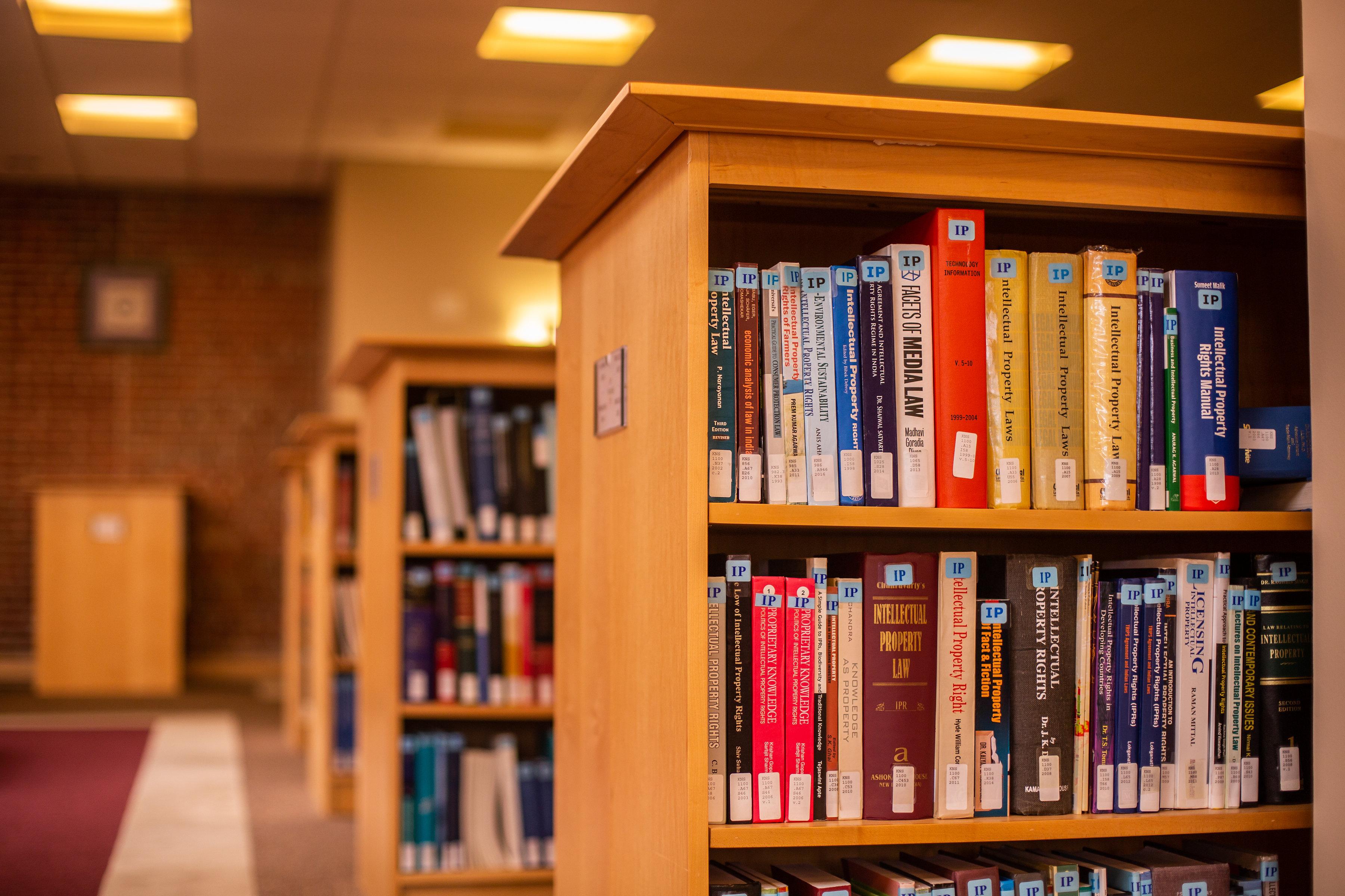 bookshelves in law library