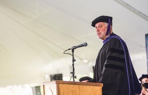 Richard Wilder, JD '84 giving the 2021 commencement address