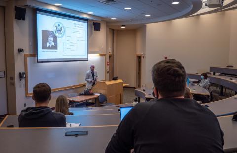 Professor Bill Murphy teaching in room 205