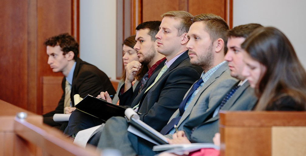 Students sitting in courtroom